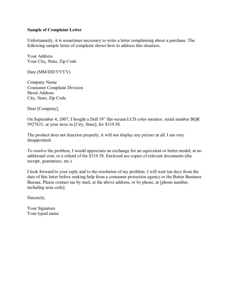 Sample of Complaint Letter
