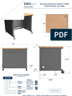 Enclosed Classroom Desk (CD36 Series) Technical Drawing