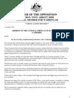Tony Abbott's address to the National Press Club