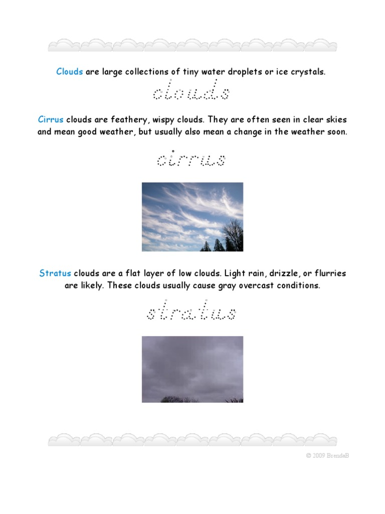 3 types of clouds worksheet