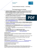 DAAD Flyer Scholarships for Australians 2010-11