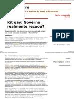 Julio Severo_ Kit Gay_ Governo Realmente Recuou