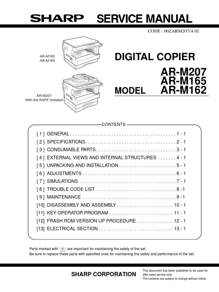 sharp ar m207 ar m165 ar m162 parts service image scanner fax rh pt scribd com 10 Key Clip Art ELL Sharp 10 Key Calculator