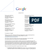 Google Letter Re Privacy Policy