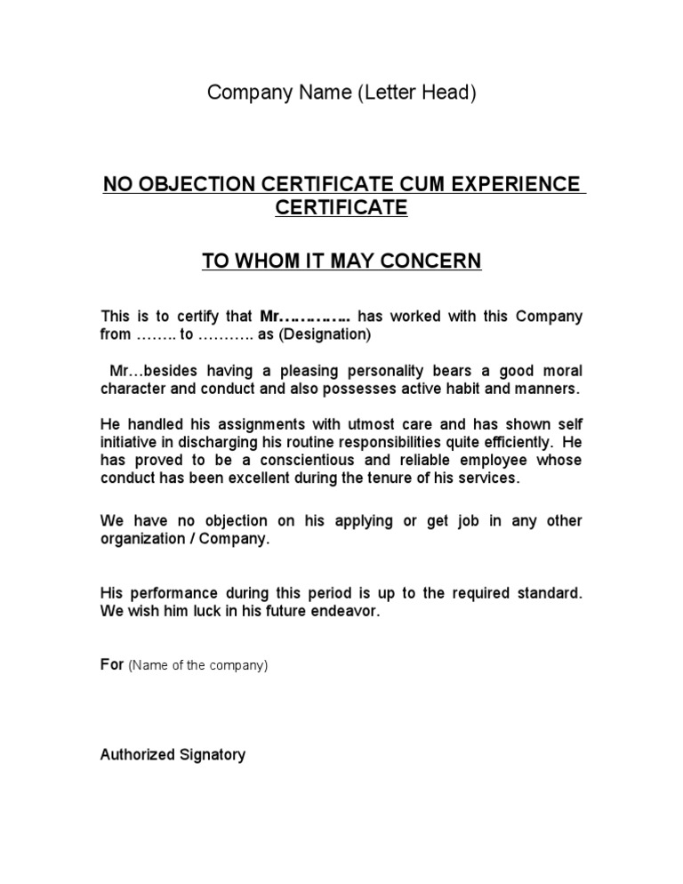 NOC Experience Certificate  Noc Certificate For Employee