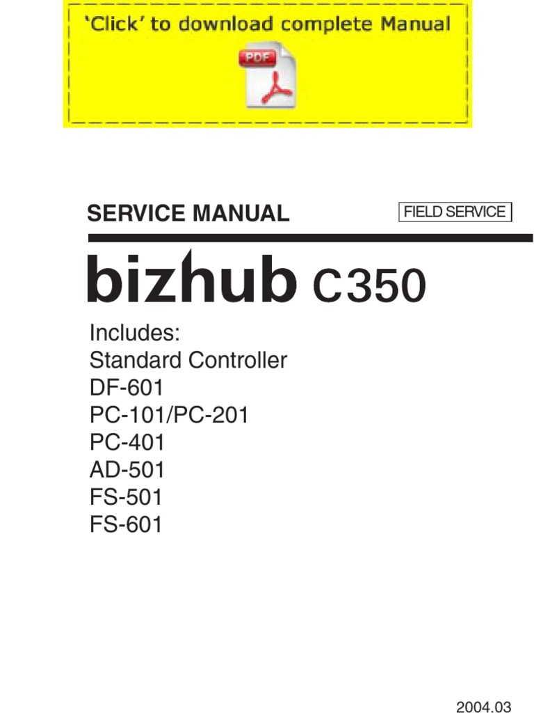 Konicaminolta Bizhub C350 Service Manual Pages