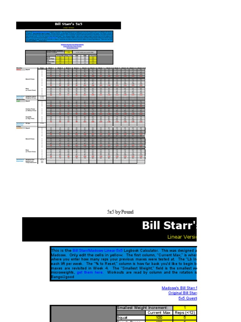 Bill Starr/Madcow 5x5 Logbook Calculator | Individual Sports