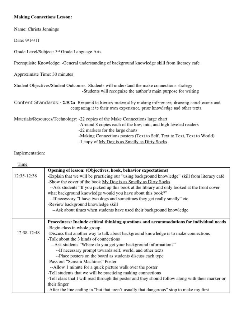 Lesson Plan 1 Books Literacy