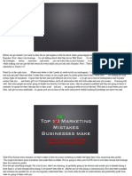 Top 12 Marketing Mistakes