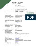 Mandatory Disclosure 2011