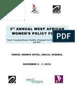 3rd Annual West Africa Women Policy Forum, Abuja, Nigeria