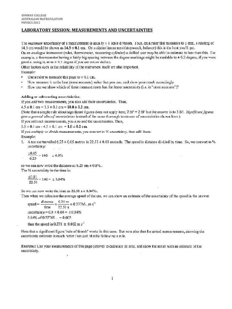 measurement experiment lab report