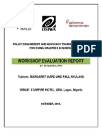 Policy Advocacy and Engagement  Training Post Evaluation Report - Lagos, Nigeria (September, 2010)