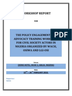 Policy Advocacy and Engagement Training Narrative Report - Abuja Nigeria 1 (Feb 2010)
