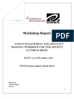 Policy Advoccay and Engagement Training Narrative Report - Cotonou, Benin - (December 2010)