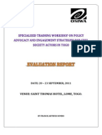 Policy Advocacy and Engagement Training Evaluation Report - Lome Togo - (September, 2011