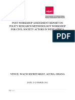Policy Research and Methodology Post Evaluation Training Report Ghana (March, 2011)