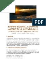 Bases Torneo Regional Juvenil Centro - Cerro de Pasco