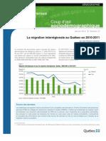 Interregional migration in Québec in 2010-2011