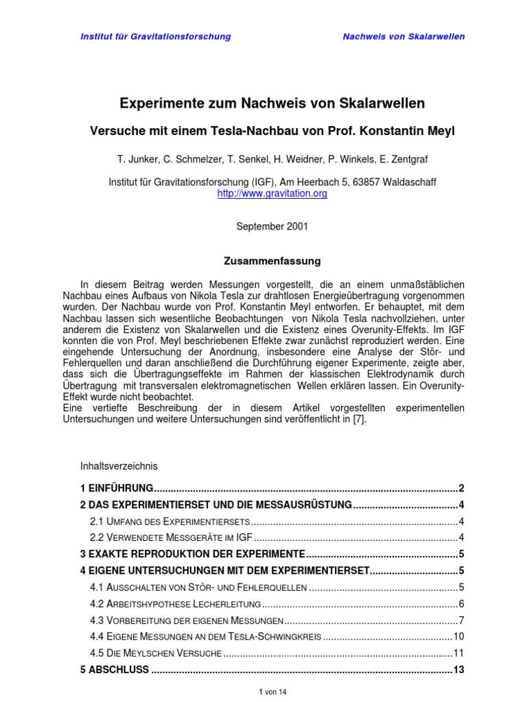 Meyl Experimente Zum Nachweis Von Skalarwellen