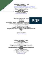 Showroom Schedule Feb 1, 2012