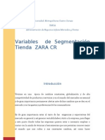 Variables de Segmentacion de Zara