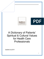 A Dictionary of Patients' Spiritual Cultural Values for Health Care Professionals_ July 2011