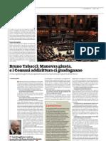 Intervista a Bruno Tabacci sulla manovra
