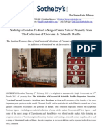 Sotheby's London Single Owner Sale of The Collection of Giovanni & Gabriella Barilla