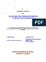43 Analysis the Need of WOrking Capital Management