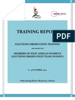 Elections Observation Training for Members of West African Women's Election Observation Team (WAWEO) - Training Narrative Report (October, 2011)