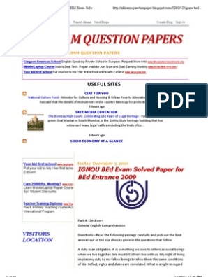 All Exam Question Papers: Ignou Bed Exam Solved Paper for Bed