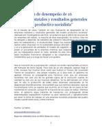 Evaluación de desempeño de 16 empresas estatales y resultados generales del modelo productivo socialista