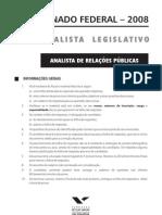 Fgv 2008 Senado Federal Analista de Relacoes Publicas Prova