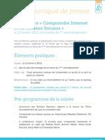 """Communiqué de Presse - Conférence """"Comprendre Internet & les réseaux sociaux"""""""