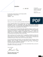 Letter From Martin Dixon to High School for Coburg 17 Jan 2012
