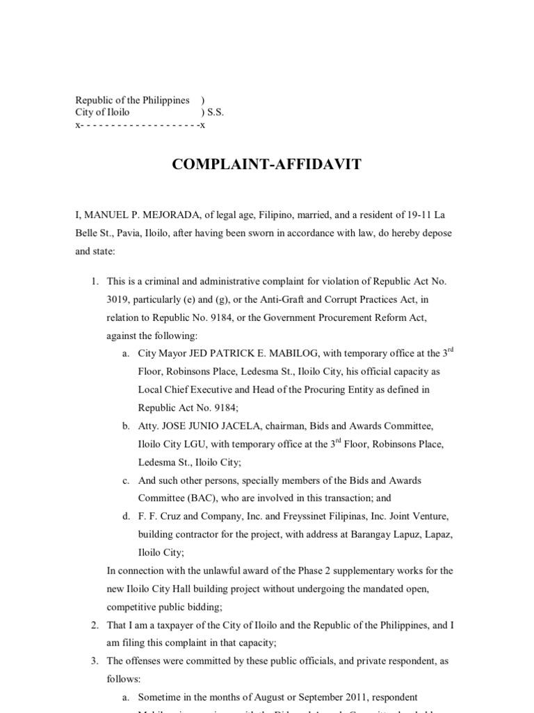 Complaint Affidavit Phase Two City Hall   Procurement   Business