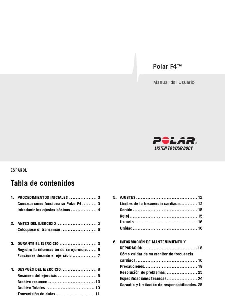 Polar F4 User Manual Espanol