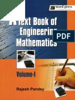 Text Book of Engineering Mathematics. Volume I