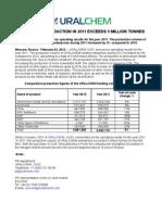 URALCHEM's Production in 2011 exceeds 5 Million Tonnes
