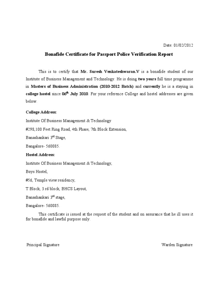 bonafide certificate for passport