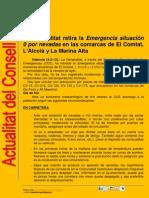 Gobernació retira emergència situació 0 i decreta forts vents a Castelló