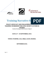 Policy Advocacy and Engagement Training for OSIWA Grantees in Nigeria- Training Narrative Report (September 2010)