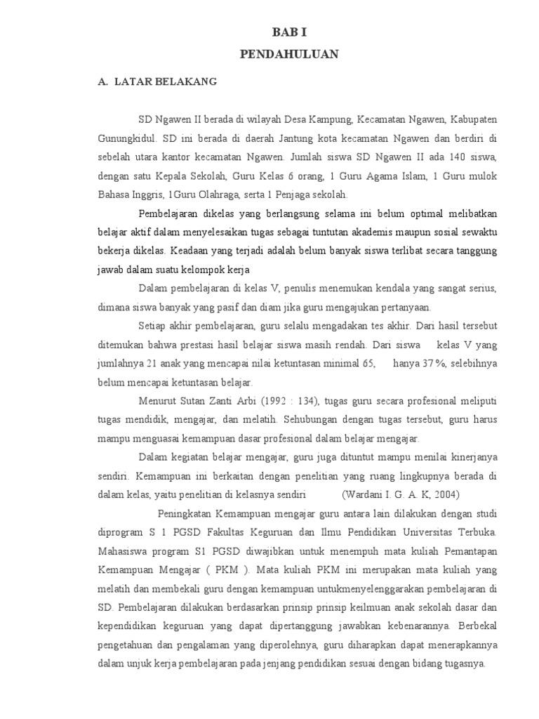 Contoh Laporan Pkm Ut Pgsd Pemantapan Kemampuan Mengajar Pdgk4209
