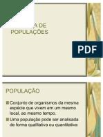 DINÂMICA DE POPULAÇÕES