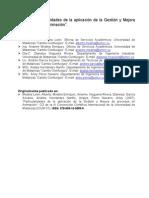 Particularidades de la aplicación de la Gestión y Mejora de procesos
