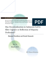 Decentralisation Led to Elite Captured or Reflection to Majority Indonesia Preference