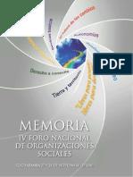 Memoria IV Foro Nacional de  Organizaciones Sociales 2010. Cochabamba, Bolivia 27 y 28 de Noviembre de 2010