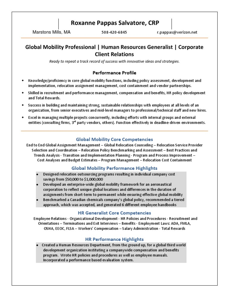 Global Mobility HR Generalist in Boston MA Resume Roxanne Pappas ...