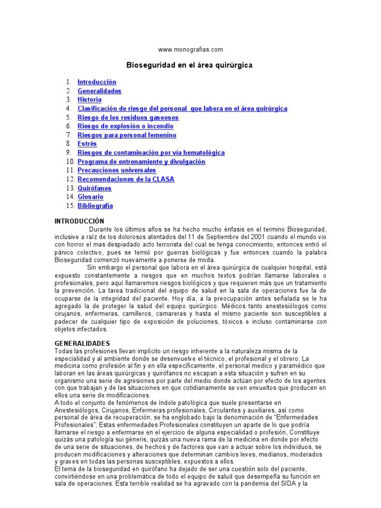 Circuito Quirurgico : Bioseguridad quirurgica